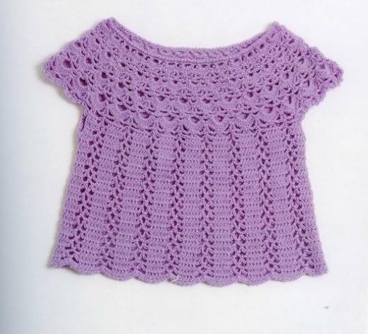 lila renkli yuvarlak yaka kısa kollu örgü bluz modeli
