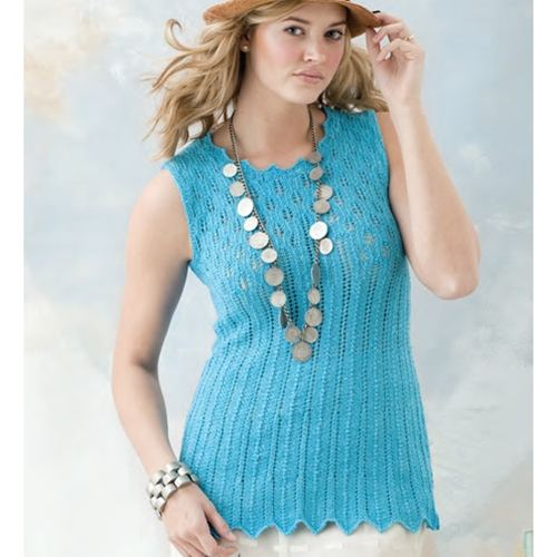 mavi örgü bayan kolsuz bluz