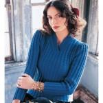 mavi  V yakalı kalın kışlık bluz modeli