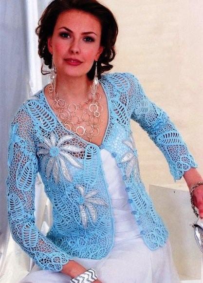 mavi beyaz dantel tığ işi hırka