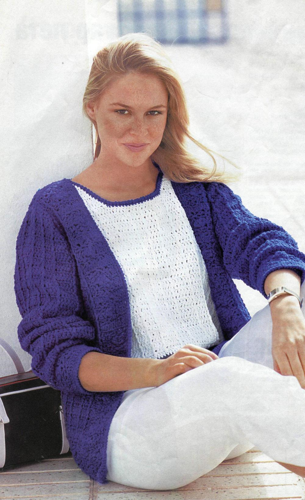 mavi renkli desenli örgü bayan hırka modeli