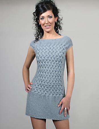 mavi renkli mini örgü elbise modeli