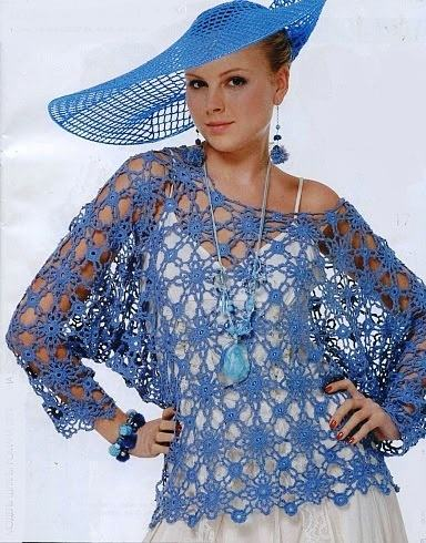 mavi tığ işi kollu delikli bluz