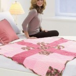 motifli örgü yatak örtüsü