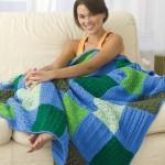 motifli renkli örgü battaniye