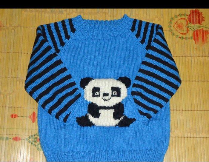 oturan panda modelli örgü erkek çocuk kazak modeli