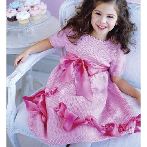 pembe kurdeleli çocuk elbisesi