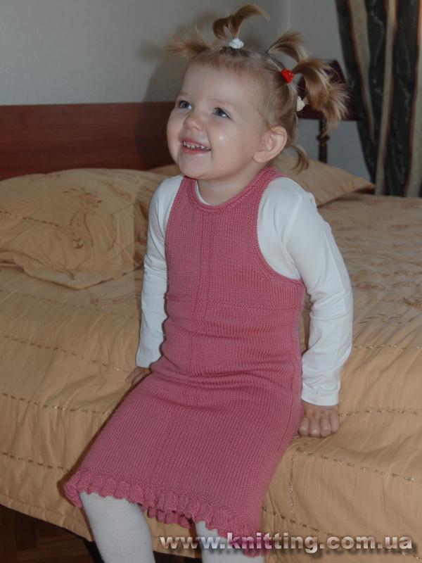pembe renkli düz örgülü elbise modeli