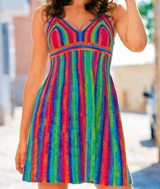 rengarenk örgü elbise