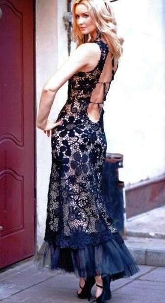 sırt dekolteli dantel siyah elbise  modeli