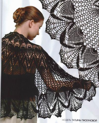 siyah dantel modelli örgü şal örnekleri