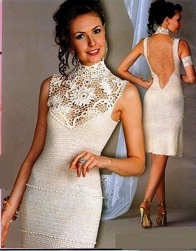 tığ ile örülmüş krem renkli elbise modeli