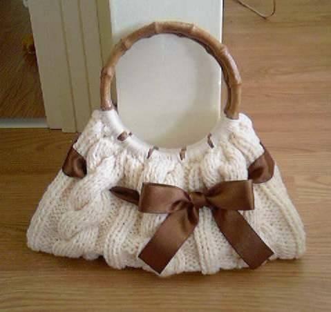 tahta kulplu yeni örgü çanta modelleri