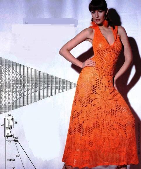 turuncu dantel örgü elbise modeli