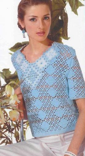 v yaka yarım kollu yazlık örgü bluz modeli
