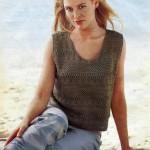 v yakalı kolsuz örgü bayan bluz modeli