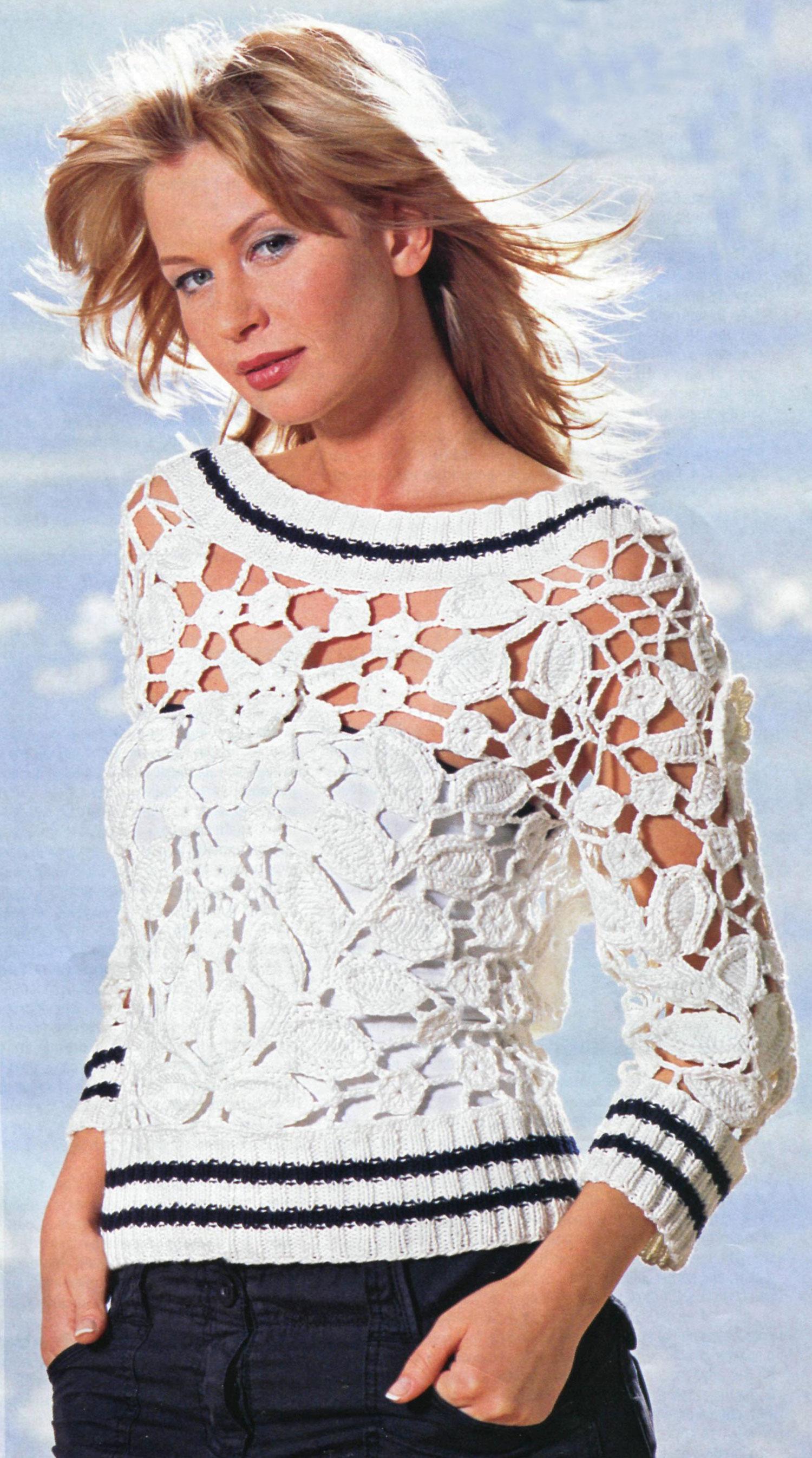 yakası kolları ve etekleri çizgili lastik modelli örgü bluz örnekleri