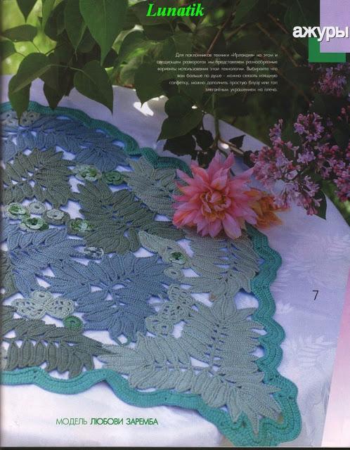yaprak desenli renkli sehpa örtüsü modelleri