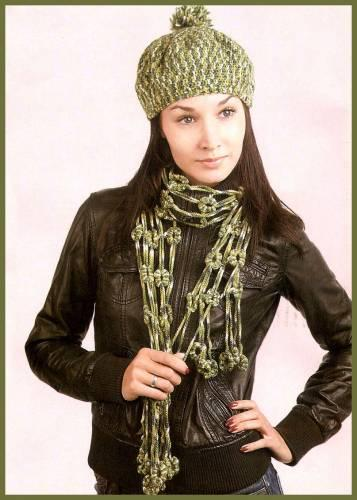 yeşil ebruli renkli atkı şapka modeli