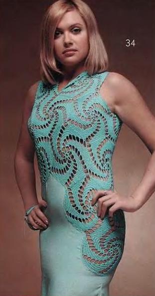 yeşil renkli rüzgar gülü desenli örgü elbise modeli