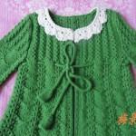yeşil renkli yakası dantel kemerli tunik hırka modeli
