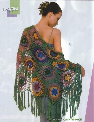 yuvarlak renkli motifli püsküllü şal modeli