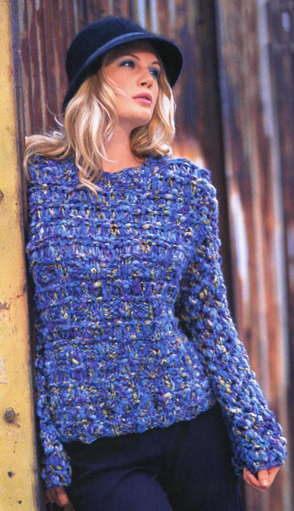 yuvarlak yaka mavi renkli kışlık kazak modeli