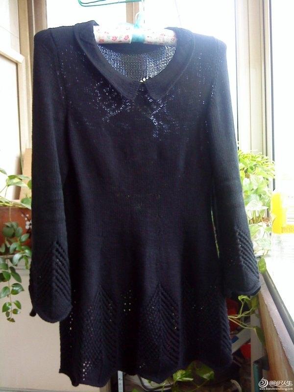 şiş ile örülen acur desenli yakalı tunik mini elbise modeli