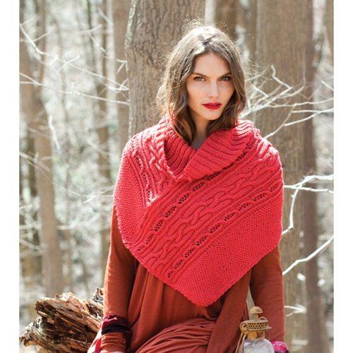 şiş ile örülmüş kırmızı desenli pelerin modeli