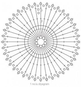 Ebruli Oval Motifli Dikdörtgen Örgü Şal Modeli şeması