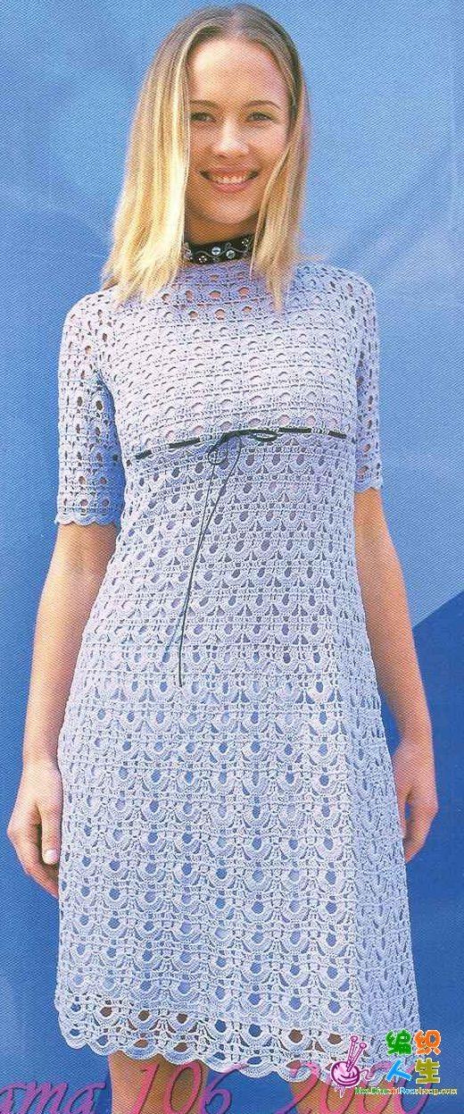 açık mavi renkli yarım kollu bayan örgü elbise modeli