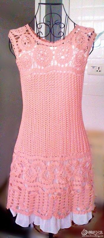 açık pembe renkli dantel örgü elbise modeli