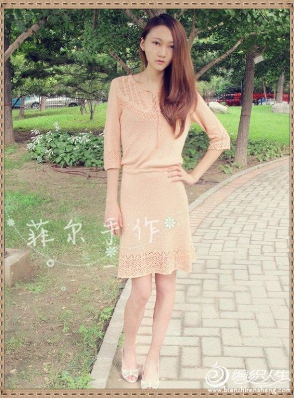 acur desenli yarım kollu şiş ile örülen elbise modeli