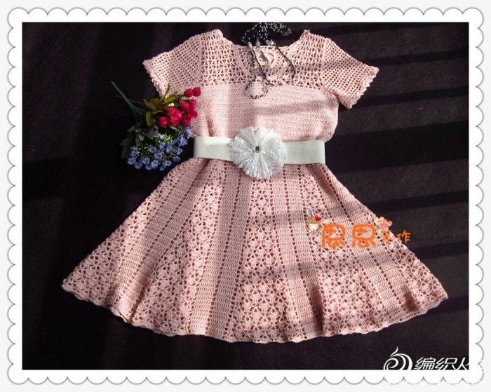 beyaz kemerli pembe renkli file  dantel elbise modeli