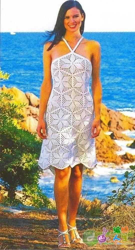 beyaz renkli motifli yazlık örgü elbise modeli