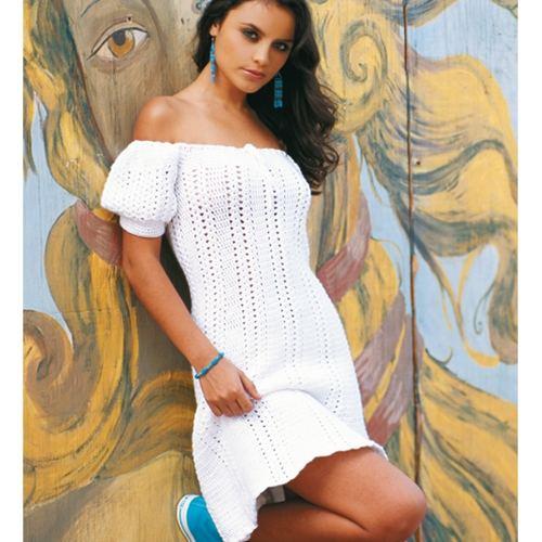beyaz tığ işi düşük kollu ve yakalı elbise