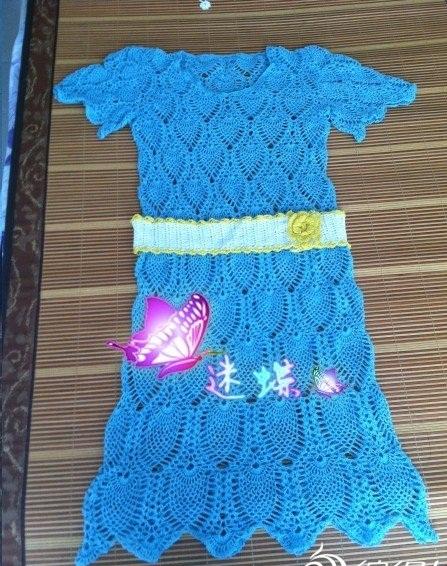 dantel mavi renkli örgü elbise modeli