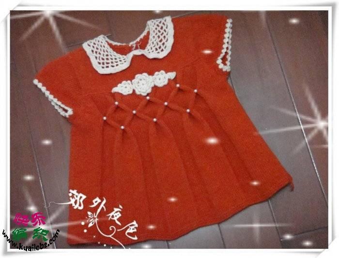 dantel yaka kırmızı renk işlemeli bebek elbisesi modeli