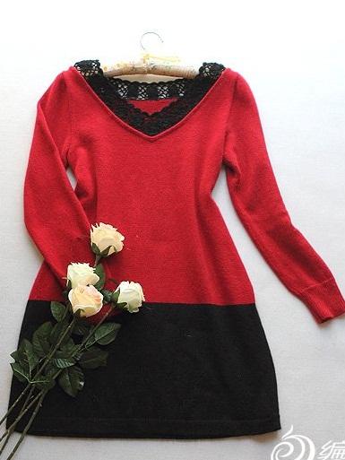 dantel yaka kırmızı siyah renkli örgü elbise modeli