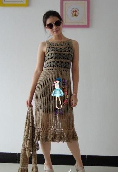 etekleri file desenli kolsuz örgü bayan elbise modeli