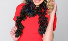 Fırfırlı Ebruli Renkli Örgü Fular Boyunluk Modeli