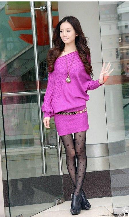 fuşya renkli düşük omuzlu şık örgü elbise modeli