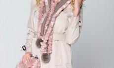 Pembe Renkli Havlu İp Örgü Atkı ve Çanta Modeli