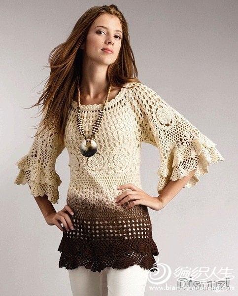 kahve ve beyaz  renkli kat kat elbise tunik modeli