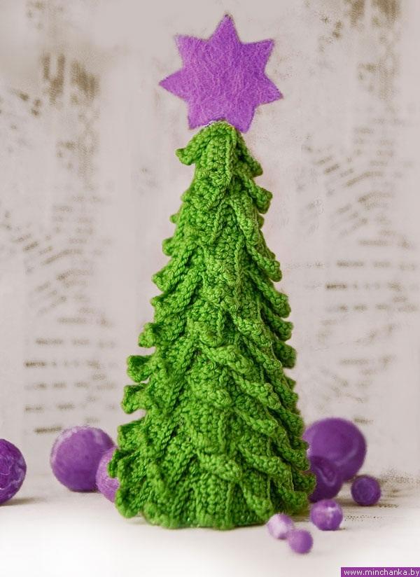 keçe ile süslenmiş örgü çam ağacı modelleri