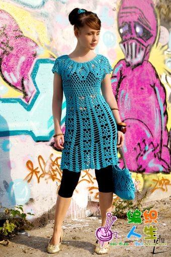 mavi renkli desenli örgü elbise modeli