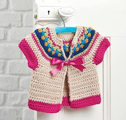kız çocukları için örgü kısa kollu ceket modeli