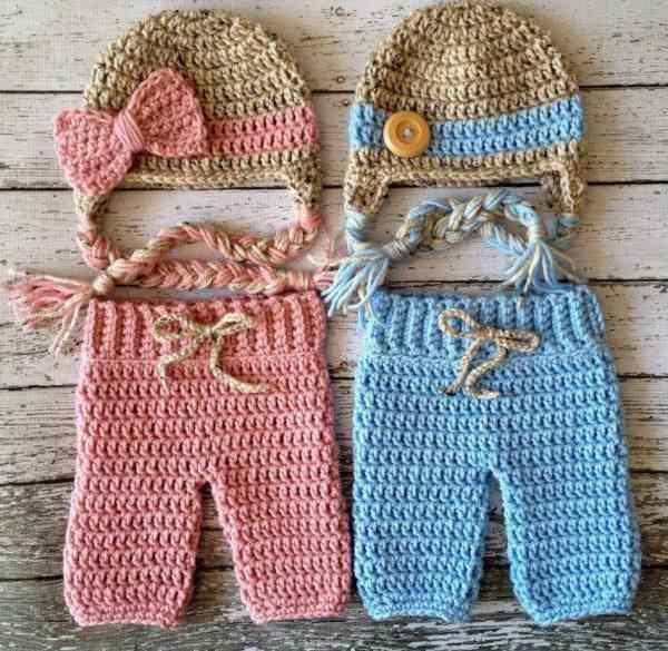 örgü bebek pantalonu ve şapkası