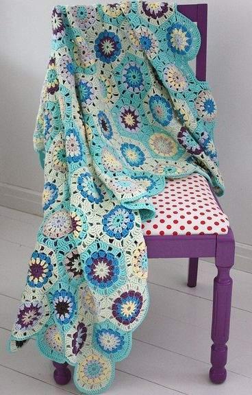 altıgen motifli  örgü battaniye