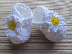 beyaz sarı papatyalı patik